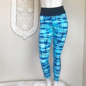 Blue and Black Mesh Side Leggings L/XL